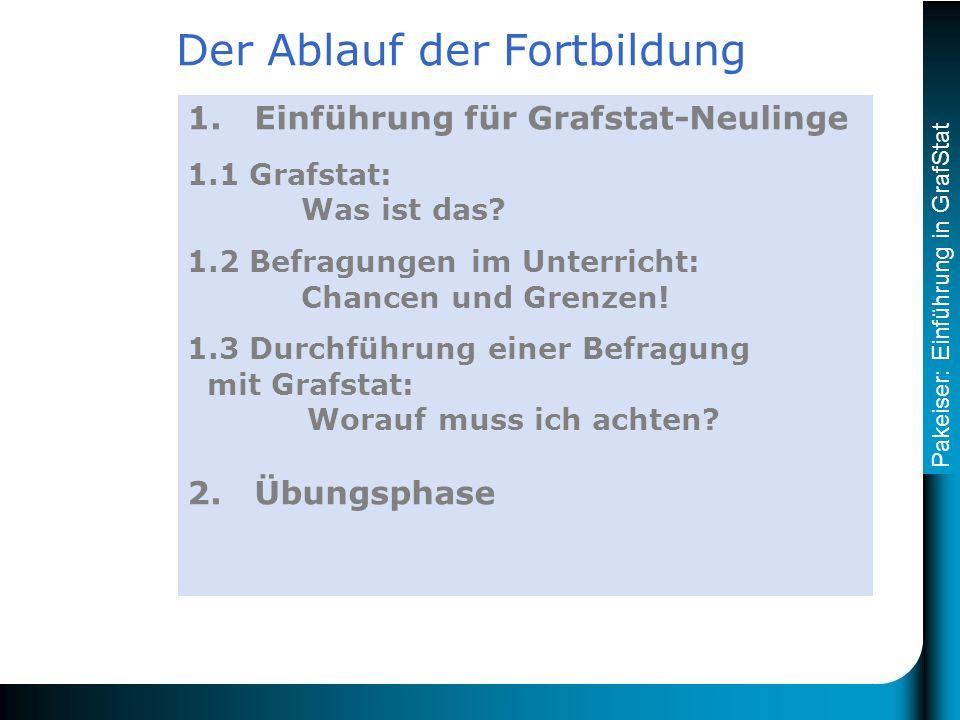 Pakeiser: Einführung in GrafStat 1. Einführung für Grafstat-Neulinge 1.1 Grafstat: Was ist das.