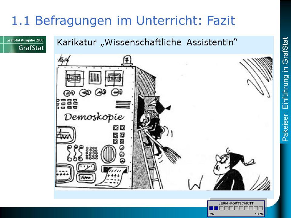Pakeiser: Einführung in GrafStat Karikatur Wissenschaftliche Assistentin 1.1 Befragungen im Unterricht: Fazit