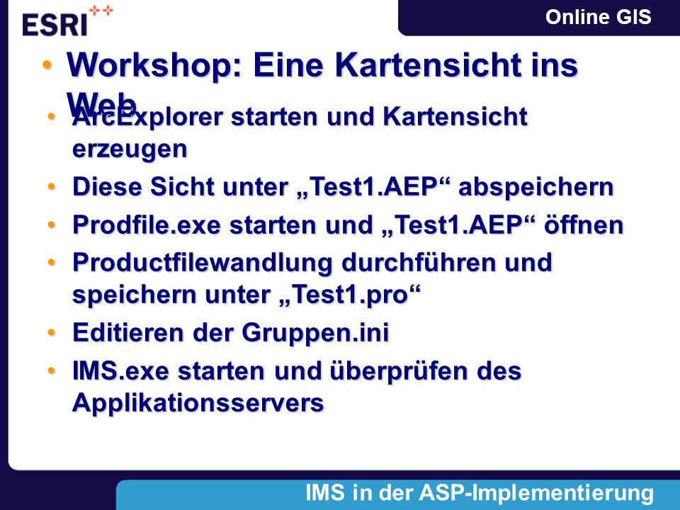 Online GIS Workshop: Eine Kartensicht ins WebWorkshop: Eine Kartensicht ins Web ArcExplorer starten und Kartensicht erzeugenArcExplorer starten und Kartensicht erzeugen Diese Sicht unter Test1.AEP abspeichernDiese Sicht unter Test1.AEP abspeichern Prodfile.exe starten und Test1.AEP öffnenProdfile.exe starten und Test1.AEP öffnen Productfilewandlung durchführen und speichern unter Test1.proProductfilewandlung durchführen und speichern unter Test1.pro Editieren der Gruppen.iniEditieren der Gruppen.ini IMS.exe starten und überprüfen des ApplikationsserversIMS.exe starten und überprüfen des Applikationsservers IMS in der ASP-Implementierung