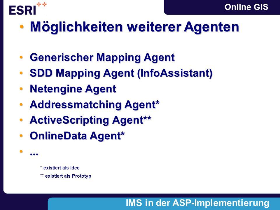 Online GIS Generischer Mapping AgentGenerischer Mapping Agent SDD Mapping Agent (InfoAssistant)SDD Mapping Agent (InfoAssistant) Netengine AgentNetengine Agent Addressmatching Agent*Addressmatching Agent* ActiveScripting Agent**ActiveScripting Agent** OnlineData Agent*OnlineData Agent*......