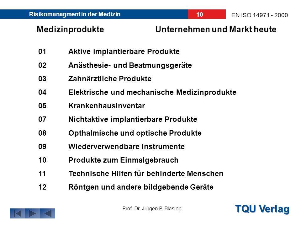 TQU Verlag Prof. Dr. Jürgen P. Bläsing EN ISO 14971 - 2000 Risikomanagment in der Medizin 9 Unternehmen und Markt heuteMedizinprodukte