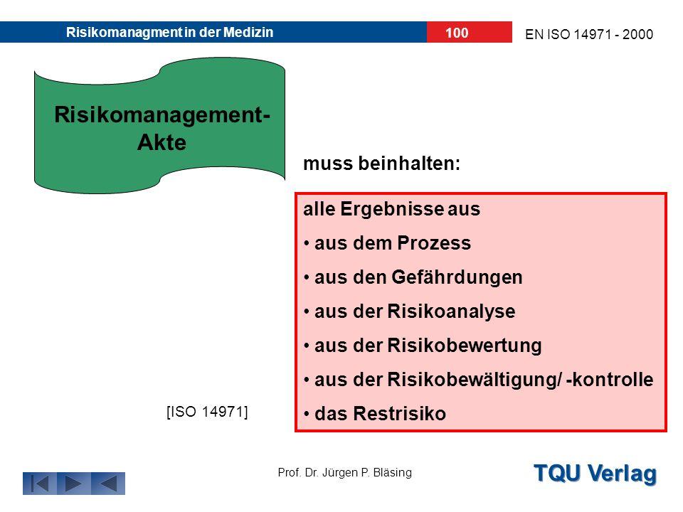 TQU Verlag Prof. Dr. Jürgen P. Bläsing EN ISO 14971 - 2000 Risikomanagment in der Medizin 99 Für das jeweilige Medizinprodukt/ Zubehör müssen die Erge