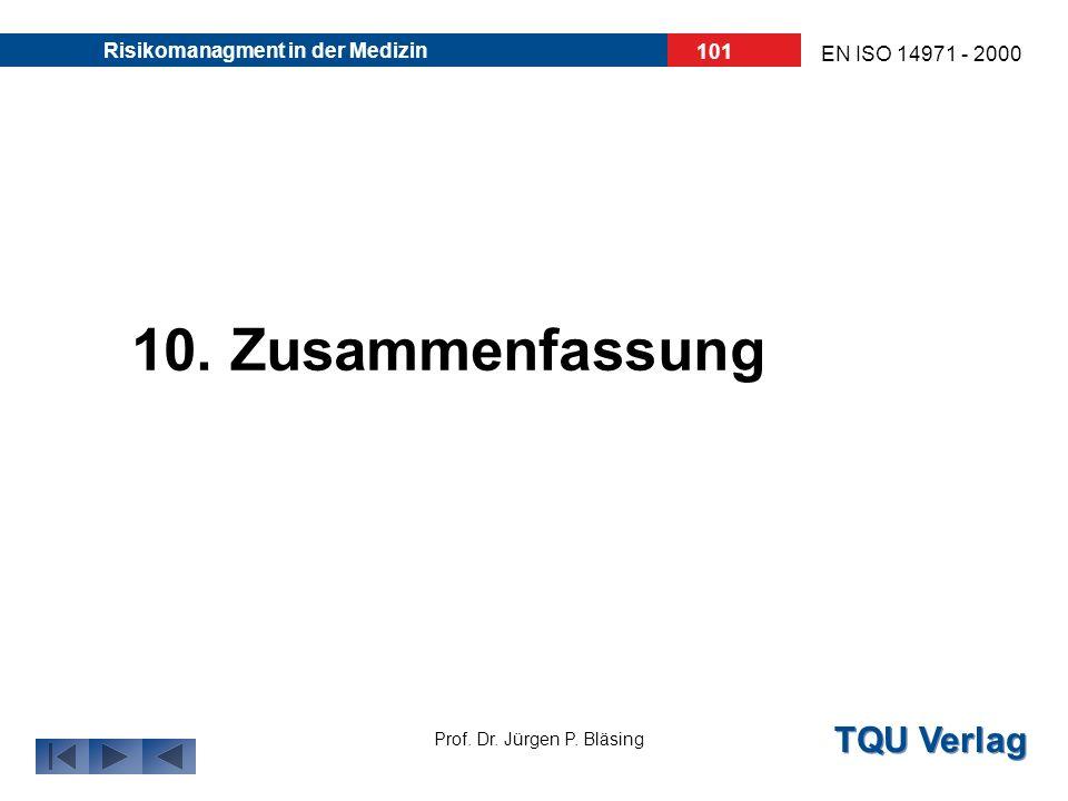 TQU Verlag Prof. Dr. Jürgen P. Bläsing EN ISO 14971 - 2000 Risikomanagment in der Medizin 100 Risikomanagement- Akte muss beinhalten: alle Ergebnisse
