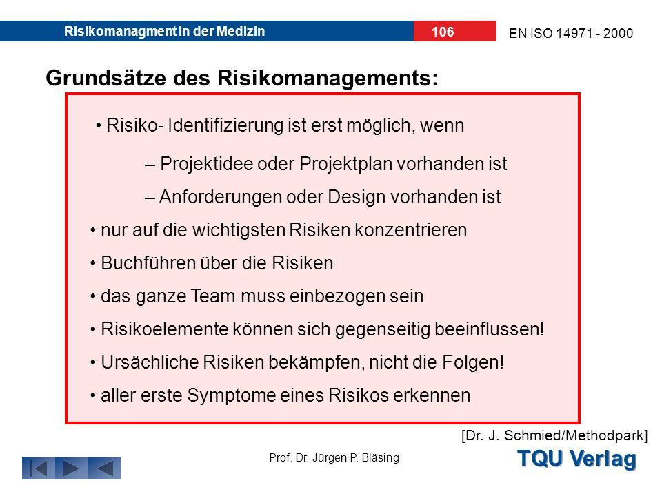TQU Verlag Prof. Dr. Jürgen P. Bläsing EN ISO 14971 - 2000 Risikomanagment in der Medizin 105 Überwachung des Risikomanagements: Regelmäßige Projektbe