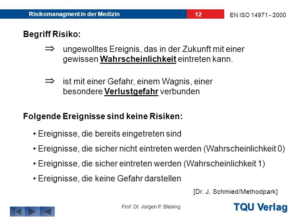 TQU Verlag Prof. Dr. Jürgen P. Bläsing EN ISO 14971 - 2000 Risikomanagment in der Medizin 11 Was ist ein Risiko?