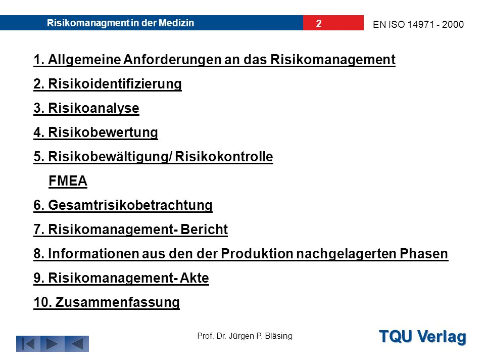 TQU Verlag Prof. Dr. Jürgen P. Bläsing Risikomanagment in der Medizin Anwendung des Risikomanagements in der Medizin EN ISO 14971 - 2000 Autor: Bernd