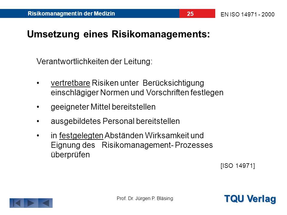 TQU Verlag Prof. Dr. Jürgen P. Bläsing EN ISO 14971 - 2000 Risikomanagment in der Medizin 24 Aufbau eines Risikomanagements: Infos aus den nachgelager