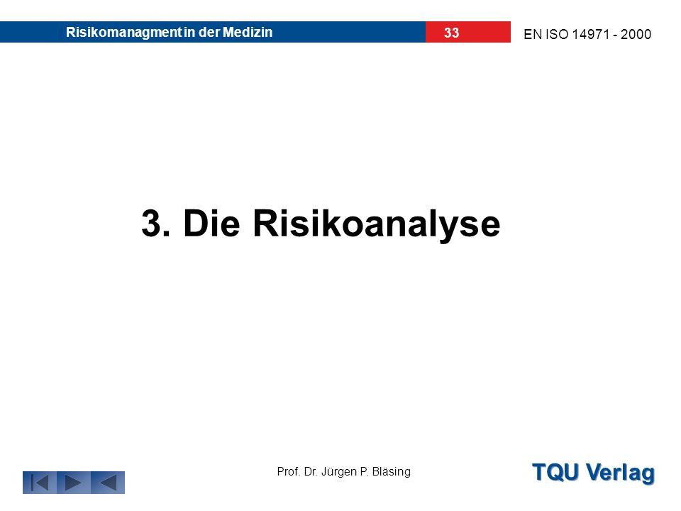 TQU Verlag Prof. Dr. Jürgen P. Bläsing EN ISO 14971 - 2000 Risikomanagment in der Medizin 32 Ursprung der Risiken: Ursprungerkennbar ausz.B Anwendungs