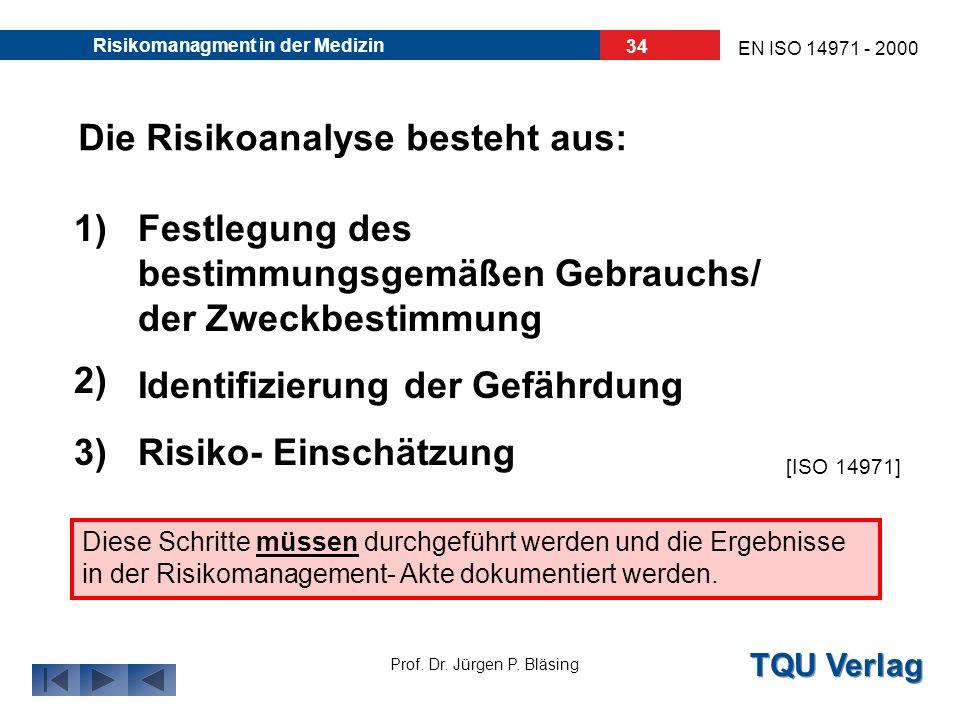 TQU Verlag Prof. Dr. Jürgen P. Bläsing EN ISO 14971 - 2000 Risikomanagment in der Medizin 33 3. Die Risikoanalyse