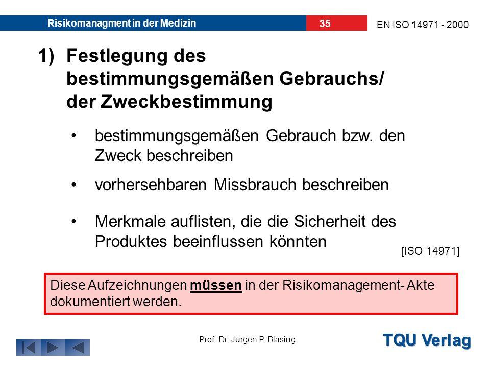 TQU Verlag Prof. Dr. Jürgen P. Bläsing EN ISO 14971 - 2000 Risikomanagment in der Medizin 34 Die Risikoanalyse besteht aus: Festlegung des bestimmungs