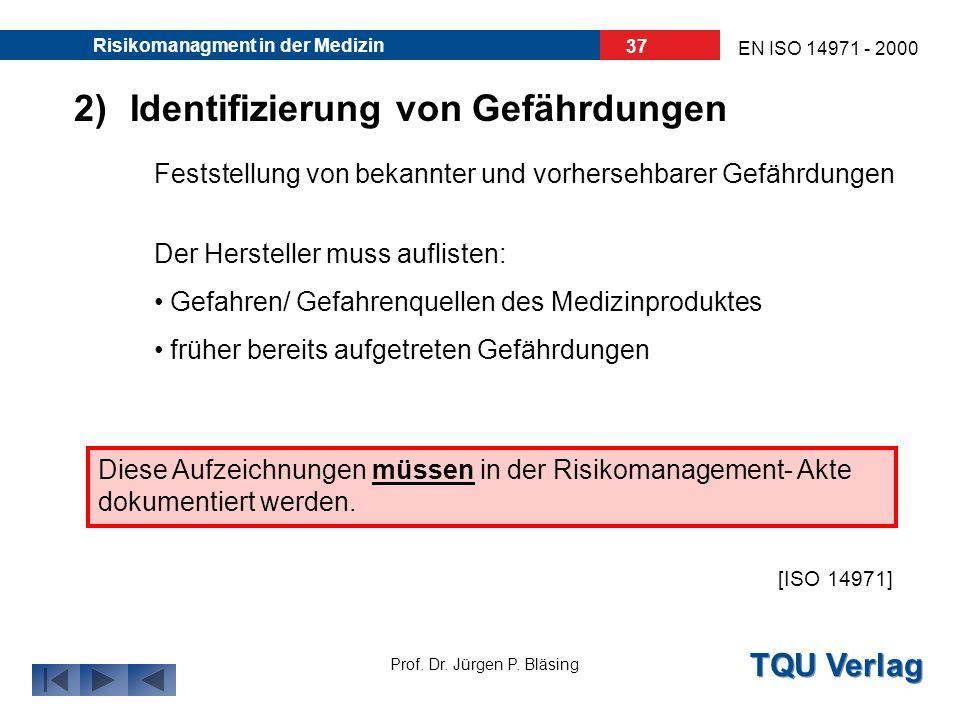 TQU Verlag Prof. Dr. Jürgen P. Bläsing EN ISO 14971 - 2000 Risikomanagment in der Medizin 36 z.B. müssen folgende Fragen/ Probleme vom Hersteller gekl