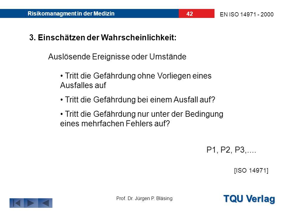 TQU Verlag Prof. Dr. Jürgen P. Bläsing EN ISO 14971 - 2000 Risikomanagment in der Medizin 41 2. Einstufung der Gefährdung: Quantitative Einteilung der
