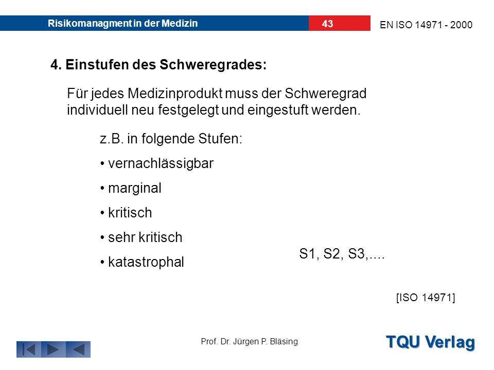 TQU Verlag Prof. Dr. Jürgen P. Bläsing EN ISO 14971 - 2000 Risikomanagment in der Medizin 42 3. Einschätzen der Wahrscheinlichkeit: Auslösende Ereigni
