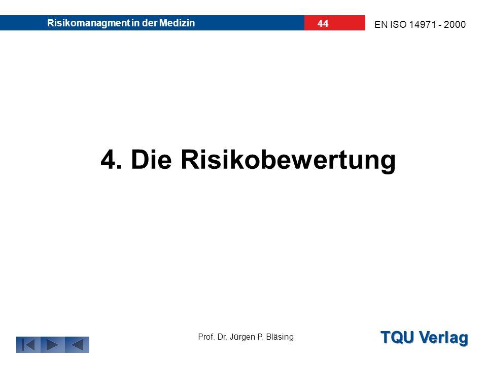TQU Verlag Prof. Dr. Jürgen P. Bläsing EN ISO 14971 - 2000 Risikomanagment in der Medizin 43 4. Einstufen des Schweregrades: S1, S2, S3,.... Für jedes