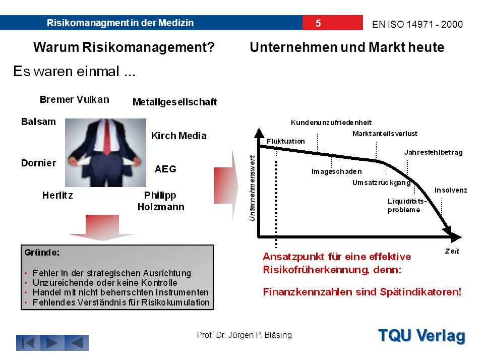 TQU Verlag Prof. Dr. Jürgen P. Bläsing EN ISO 14971 - 2000 Risikomanagment in der Medizin 4 Warum Risikomanagement?Unternehmen und Markt heute