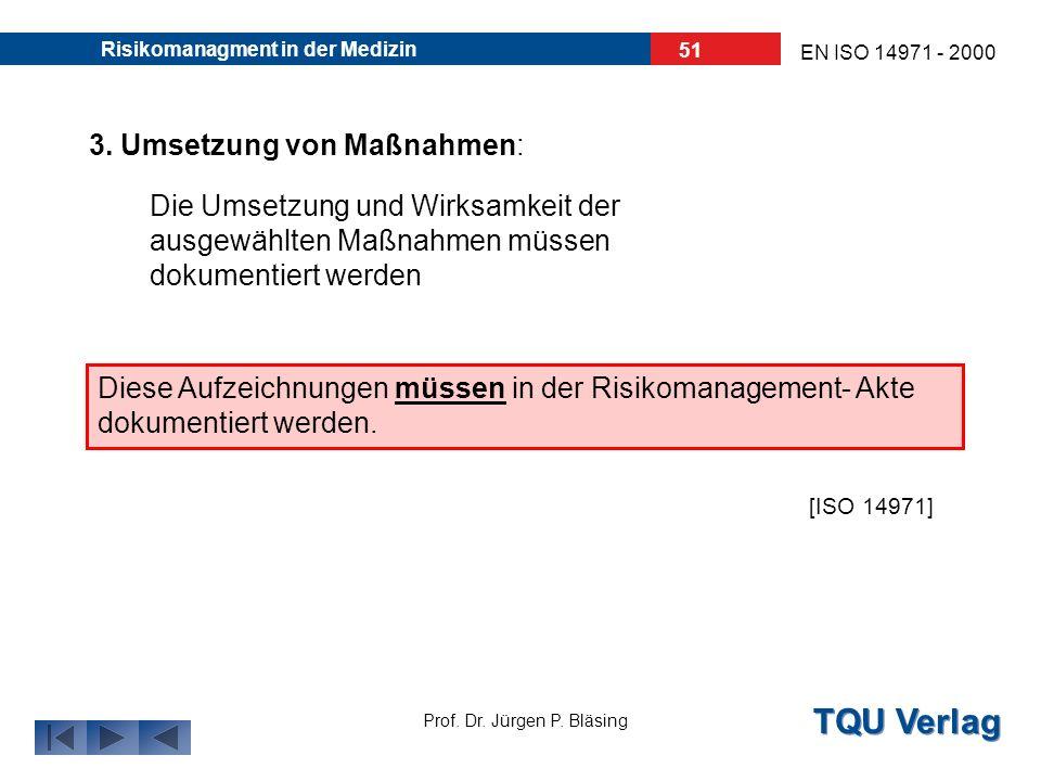 TQU Verlag Prof. Dr. Jürgen P. Bläsing EN ISO 14971 - 2000 Risikomanagment in der Medizin 50 2. Analyse der Optionen: direkte Sicherheit durch Design