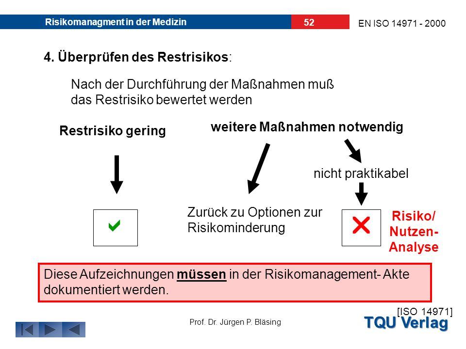 TQU Verlag Prof. Dr. Jürgen P. Bläsing EN ISO 14971 - 2000 Risikomanagment in der Medizin 51 3. Umsetzung von Maßnahmen: Die Umsetzung und Wirksamkeit