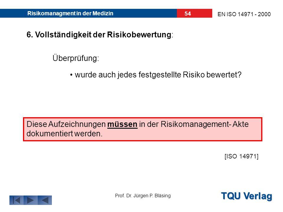 TQU Verlag Prof. Dr. Jürgen P. Bläsing EN ISO 14971 - 2000 Risikomanagment in der Medizin 53 5. Risiko/ Nutzen- Analyse: wenn Restrisiko unvertretbar