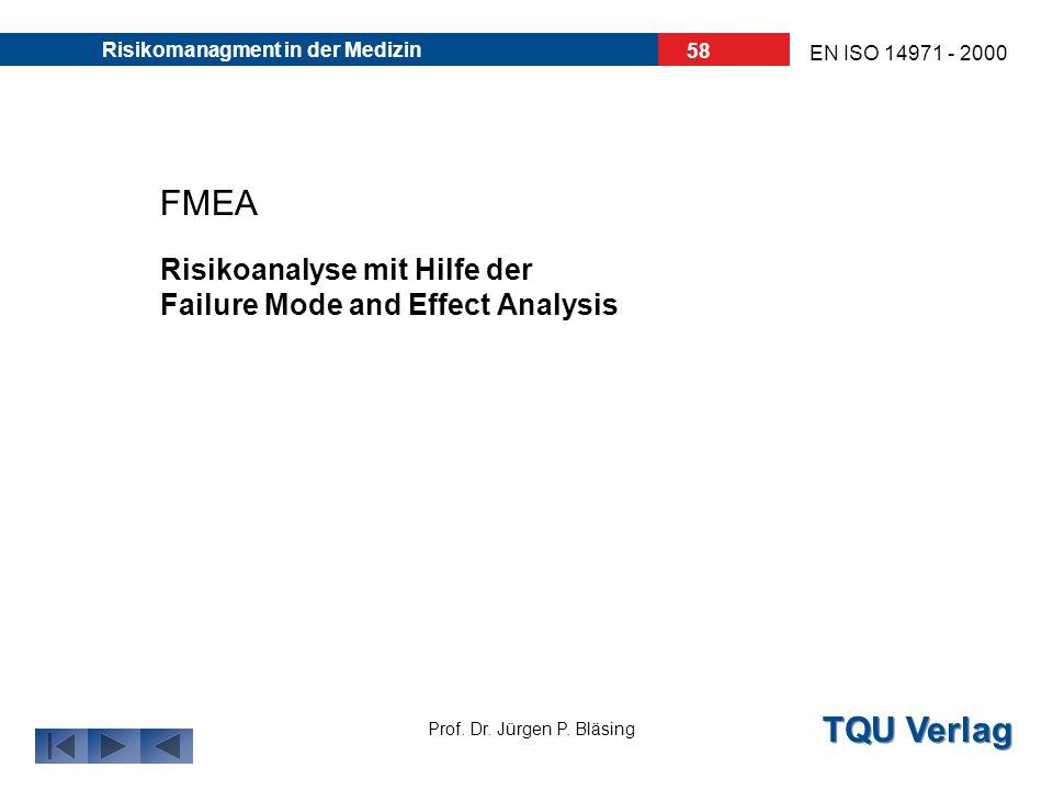 TQU Verlag Prof. Dr. Jürgen P. Bläsing EN ISO 14971 - 2000 Risikomanagment in der Medizin 57 7. Beispiel einer Risikoanalyse: Eine Risikoanalyse, Risi