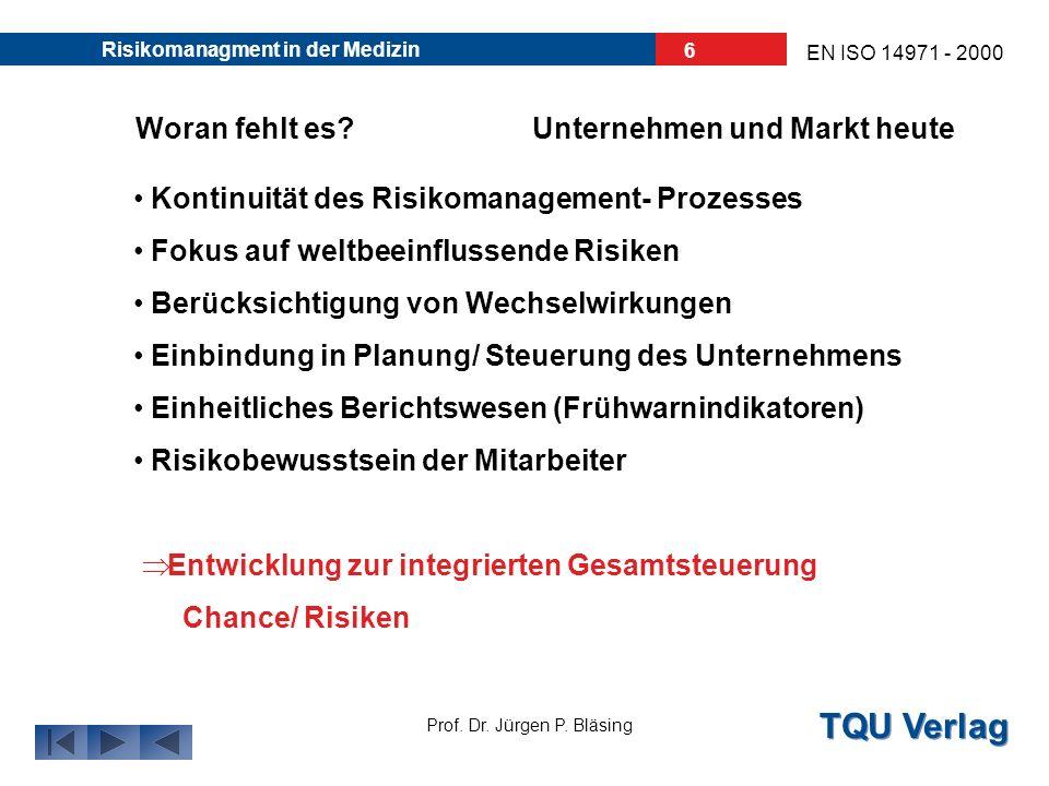 TQU Verlag Prof. Dr. Jürgen P. Bläsing EN ISO 14971 - 2000 Risikomanagment in der Medizin 5 Warum Risikomanagement?Unternehmen und Markt heute
