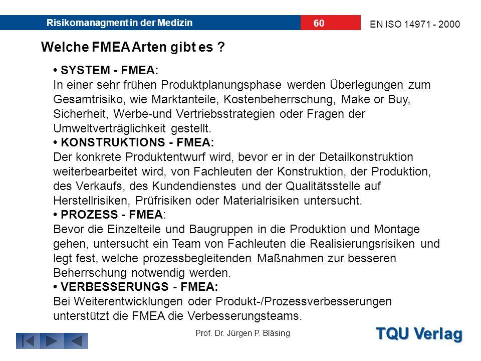TQU Verlag Prof. Dr. Jürgen P. Bläsing EN ISO 14971 - 2000 Risikomanagment in der Medizin 59 Was leistet eine FMEA ? Die FMEA unterstützt das Risikoma