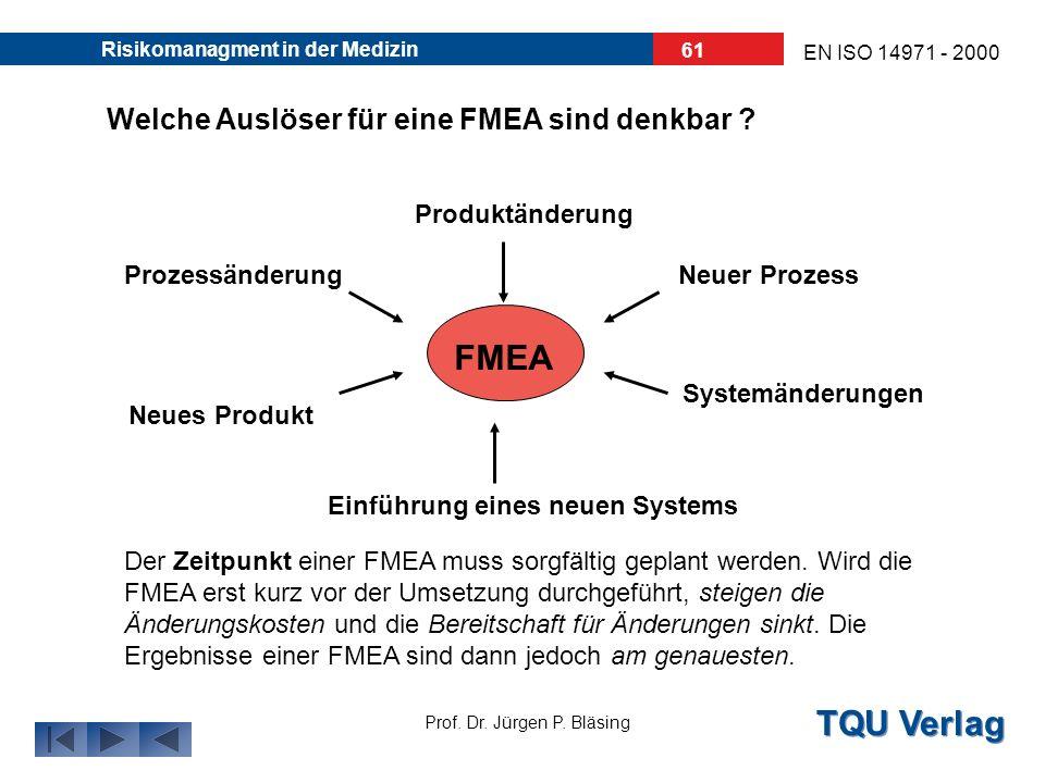 TQU Verlag Prof. Dr. Jürgen P. Bläsing EN ISO 14971 - 2000 Risikomanagment in der Medizin 60 Welche FMEA Arten gibt es ? SYSTEM - FMEA: In einer sehr