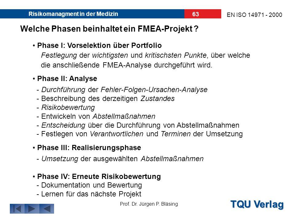 TQU Verlag Prof. Dr. Jürgen P. Bläsing EN ISO 14971 - 2000 Risikomanagment in der Medizin 62 Wie wird ein FMEA-Team zusammengestellt ? In einem FMEA-T