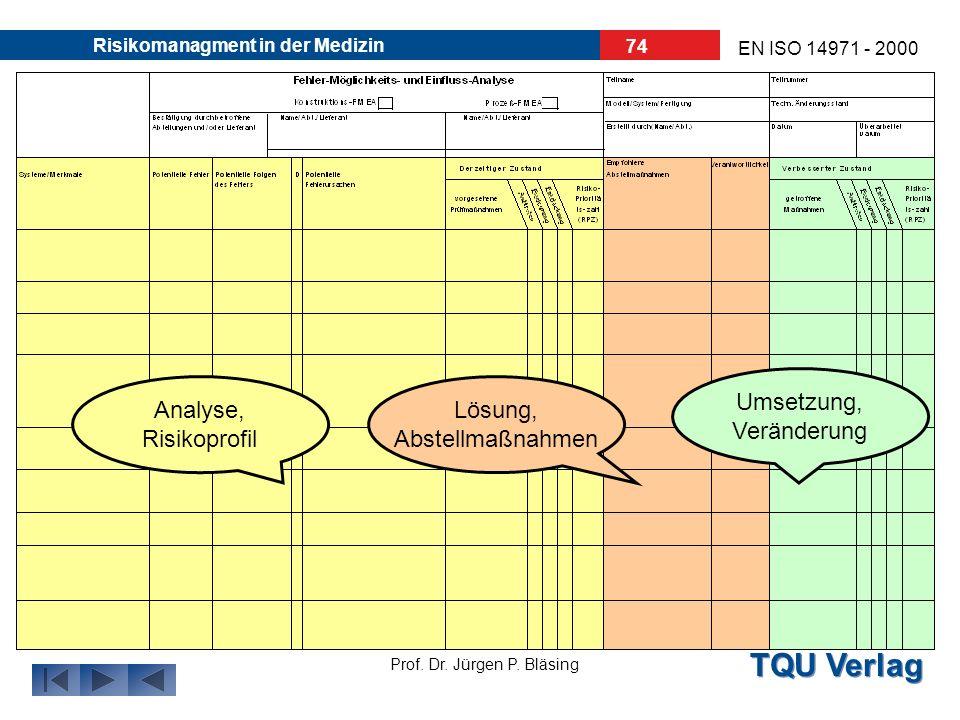 TQU Verlag Prof. Dr. Jürgen P. Bläsing EN ISO 14971 - 2000 Risikomanagment in der Medizin 73 Als Sitzungsprotokoll wird ein spezielles Formblatt verwe