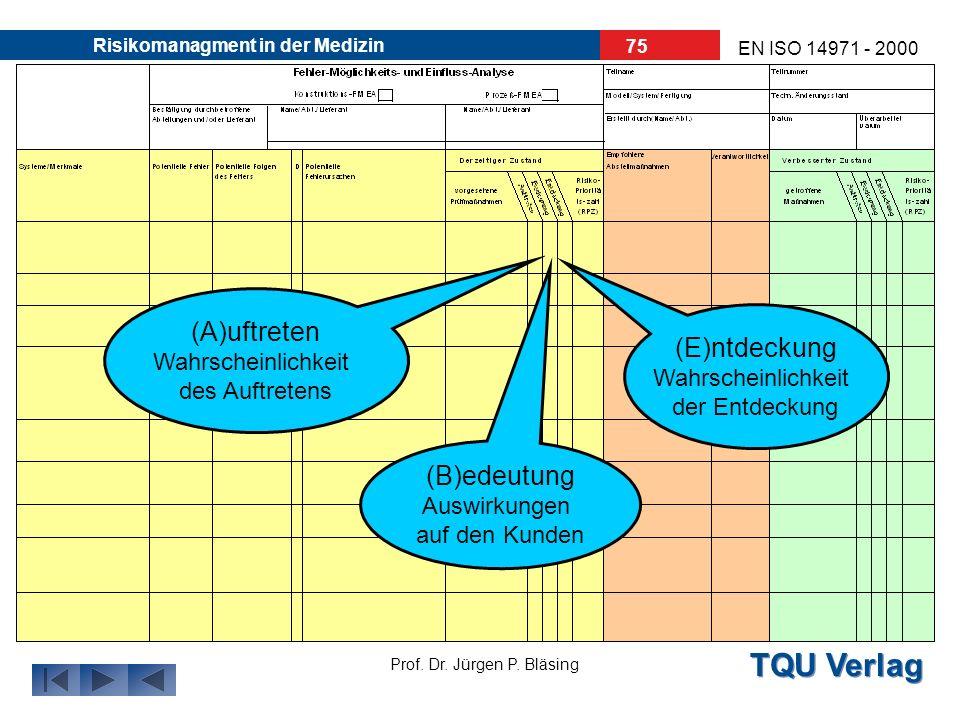 TQU Verlag Prof. Dr. Jürgen P. Bläsing EN ISO 14971 - 2000 Risikomanagment in der Medizin 74 Analyse, Risikoprofil Lösung, Abstellmaßnahmen Umsetzung,