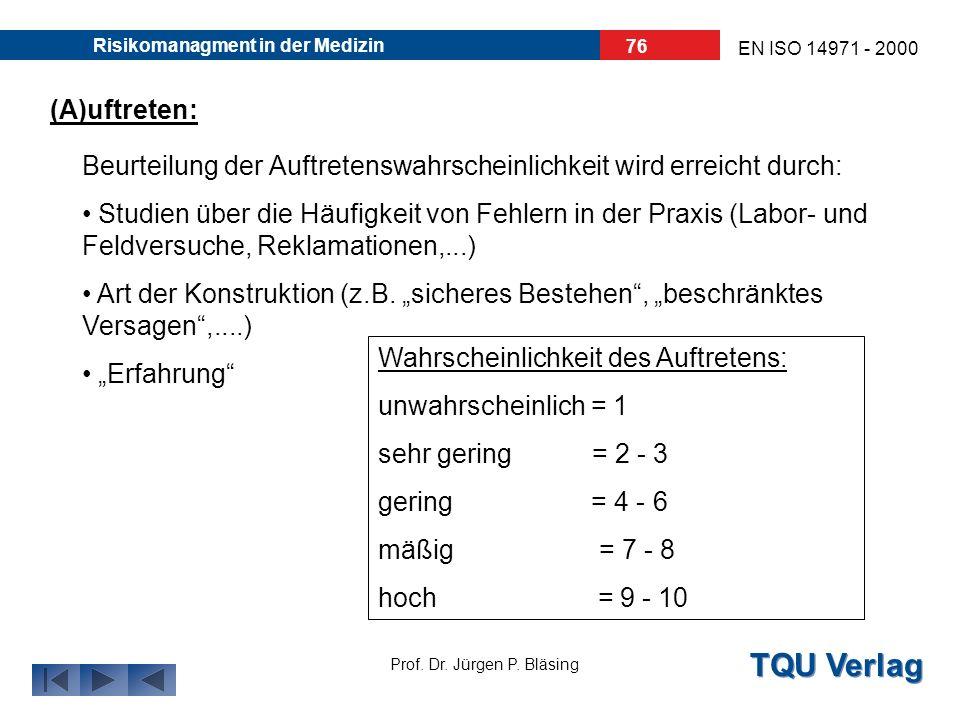 TQU Verlag Prof. Dr. Jürgen P. Bläsing EN ISO 14971 - 2000 Risikomanagment in der Medizin 75 (A)uftreten Wahrscheinlichkeit des Auftretens (B)edeutung
