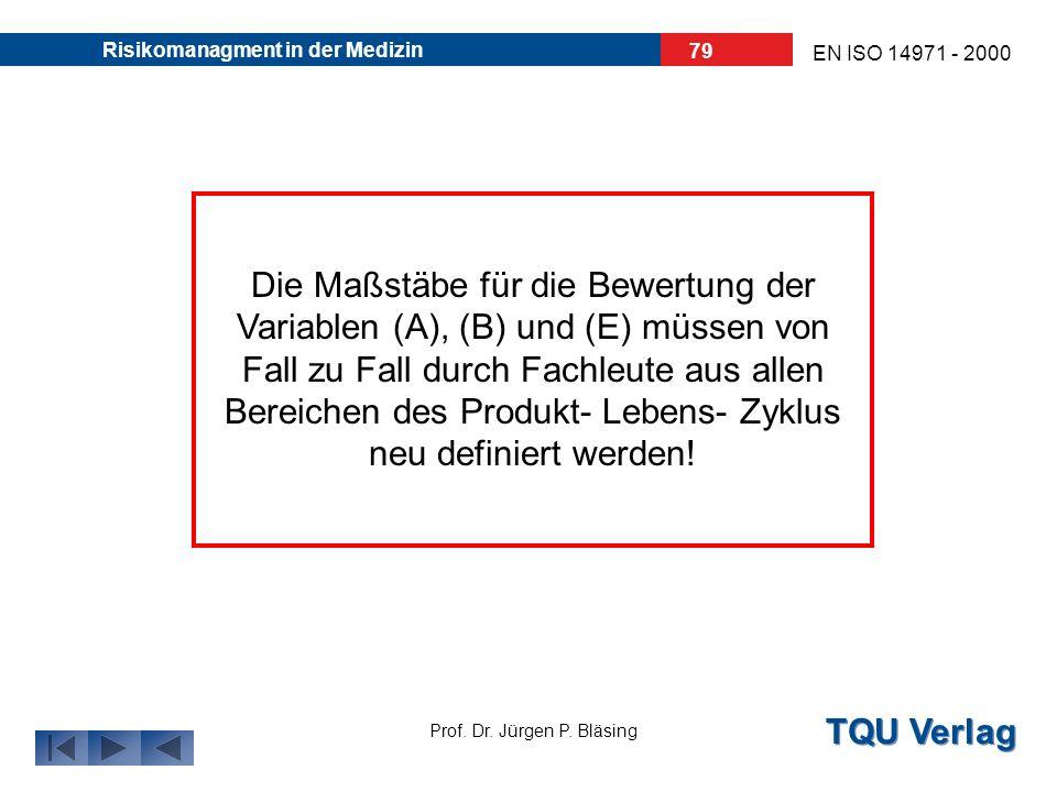 TQU Verlag Prof. Dr. Jürgen P. Bläsing EN ISO 14971 - 2000 Risikomanagment in der Medizin 78 (E)ntdeckung: Wahrscheinlichkeit der Entdeckung: hoch = 1