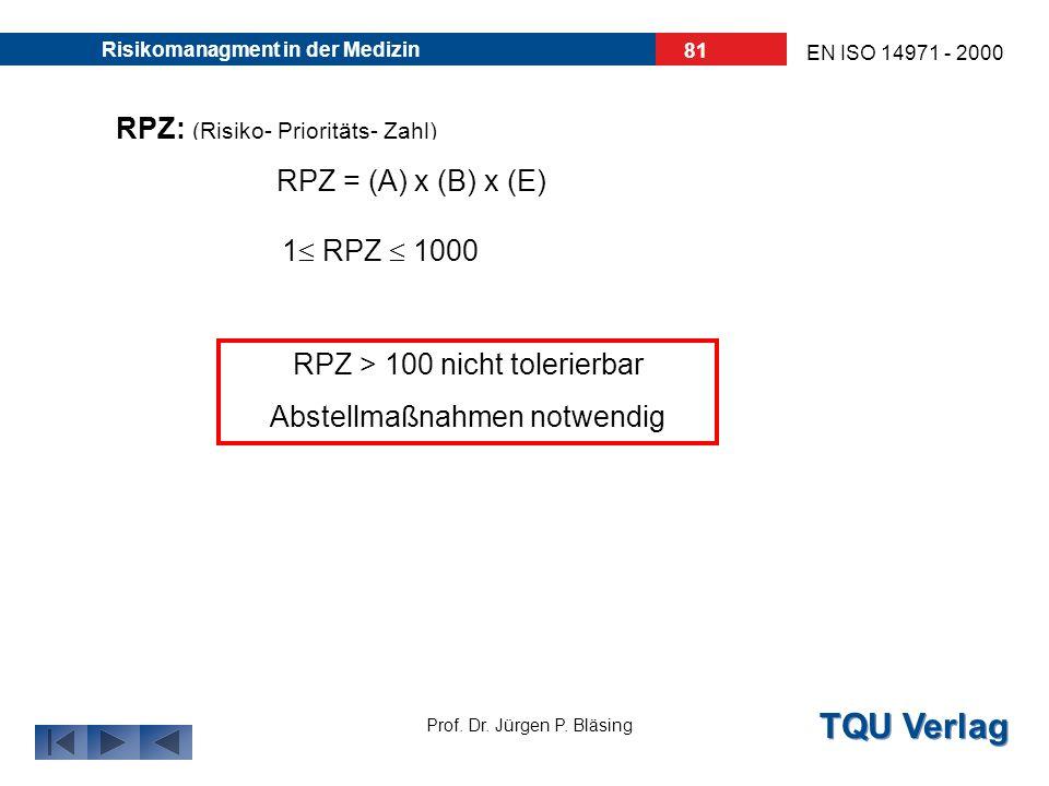 TQU Verlag Prof. Dr. Jürgen P. Bläsing EN ISO 14971 - 2000 Risikomanagment in der Medizin 80 Wichtigste Variable: Risikoprioritätszahl (RPZ) = (A)uftr