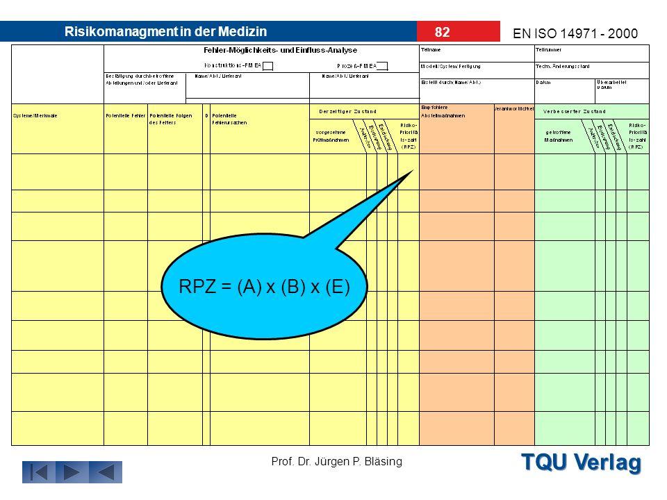 TQU Verlag Prof. Dr. Jürgen P. Bläsing EN ISO 14971 - 2000 Risikomanagment in der Medizin 81 RPZ: (Risiko- Prioritäts- Zahl) 1 RPZ 1000 RPZ = (A) x (B