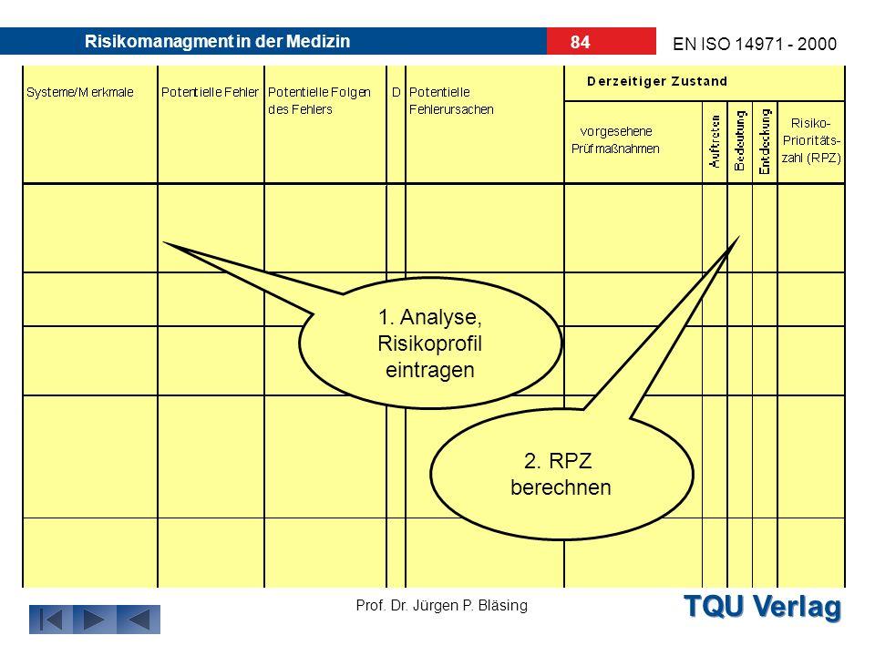 TQU Verlag Prof. Dr. Jürgen P. Bläsing EN ISO 14971 - 2000 Risikomanagment in der Medizin 83 Phase II: Analyse Es hat sich bewährt, dieses FMEA-Blatt