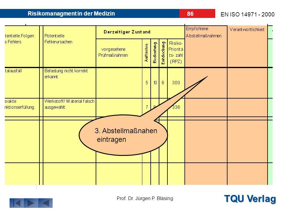 TQU Verlag Prof. Dr. Jürgen P. Bläsing EN ISO 14971 - 2000 Risikomanagment in der Medizin 85