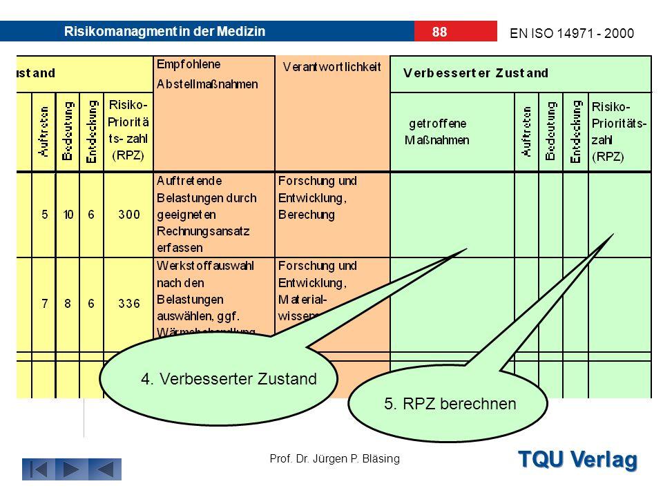 TQU Verlag Prof. Dr. Jürgen P. Bläsing EN ISO 14971 - 2000 Risikomanagment in der Medizin 87