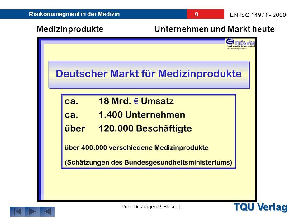 TQU Verlag Prof. Dr. Jürgen P. Bläsing EN ISO 14971 - 2000 Risikomanagment in der Medizin 8 Unternehmen und Markt heuteMedizinprodukte