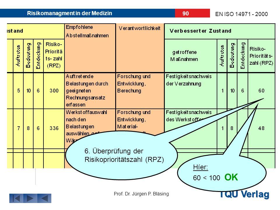 TQU Verlag Prof. Dr. Jürgen P. Bläsing EN ISO 14971 - 2000 Risikomanagment in der Medizin 89