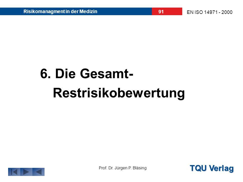 TQU Verlag Prof. Dr. Jürgen P. Bläsing EN ISO 14971 - 2000 Risikomanagment in der Medizin 90 6. Überprüfung der Risikoprioritätszahl (RPZ) Híer: 60 <