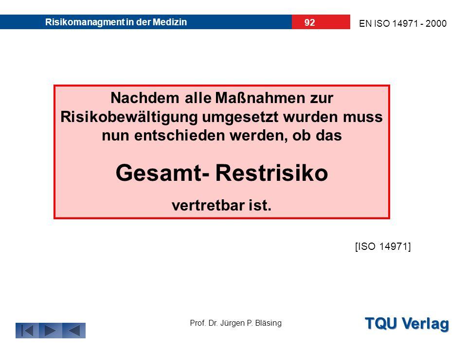TQU Verlag Prof. Dr. Jürgen P. Bläsing EN ISO 14971 - 2000 Risikomanagment in der Medizin 91 6. Die Gesamt- Restrisikobewertung