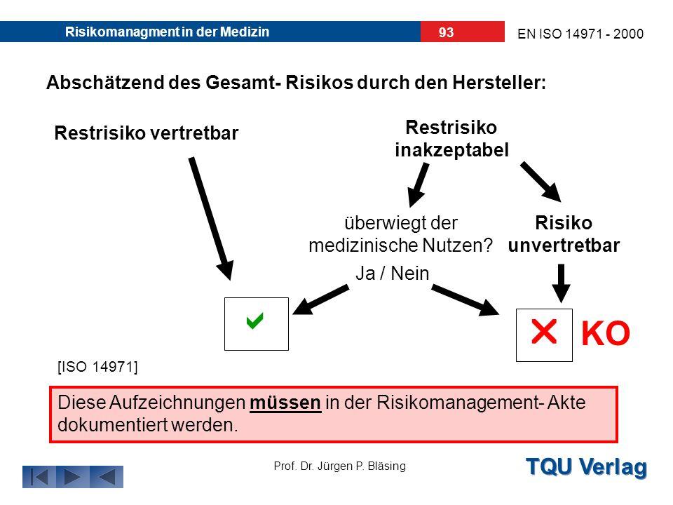 TQU Verlag Prof. Dr. Jürgen P. Bläsing EN ISO 14971 - 2000 Risikomanagment in der Medizin 92 Nachdem alle Maßnahmen zur Risikobewältigung umgesetzt wu