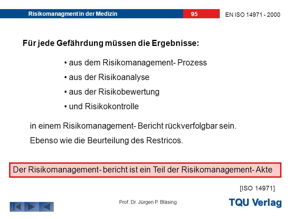 TQU Verlag Prof. Dr. Jürgen P. Bläsing EN ISO 14971 - 2000 Risikomanagment in der Medizin 94 7. Der Risikomanagement - Bericht