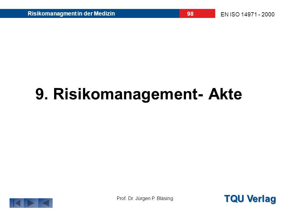 TQU Verlag Prof. Dr. Jürgen P. Bläsing EN ISO 14971 - 2000 Risikomanagment in der Medizin 97 Der Hersteller muss ein Verfahren zur Auswertung von Info