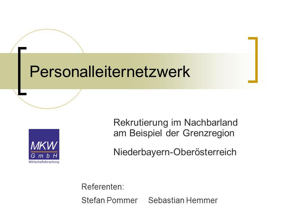Personalleiternetzwerk Rekrutierung im Nachbarland am Beispiel der Grenzregion Niederbayern-Oberösterreich Referenten: Stefan Pommer Sebastian Hemmer