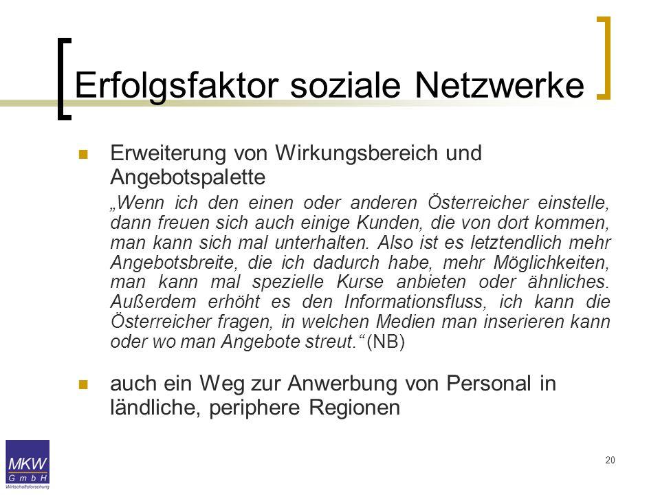 20 Erweiterung von Wirkungsbereich und Angebotspalette Wenn ich den einen oder anderen Österreicher einstelle, dann freuen sich auch einige Kunden, di