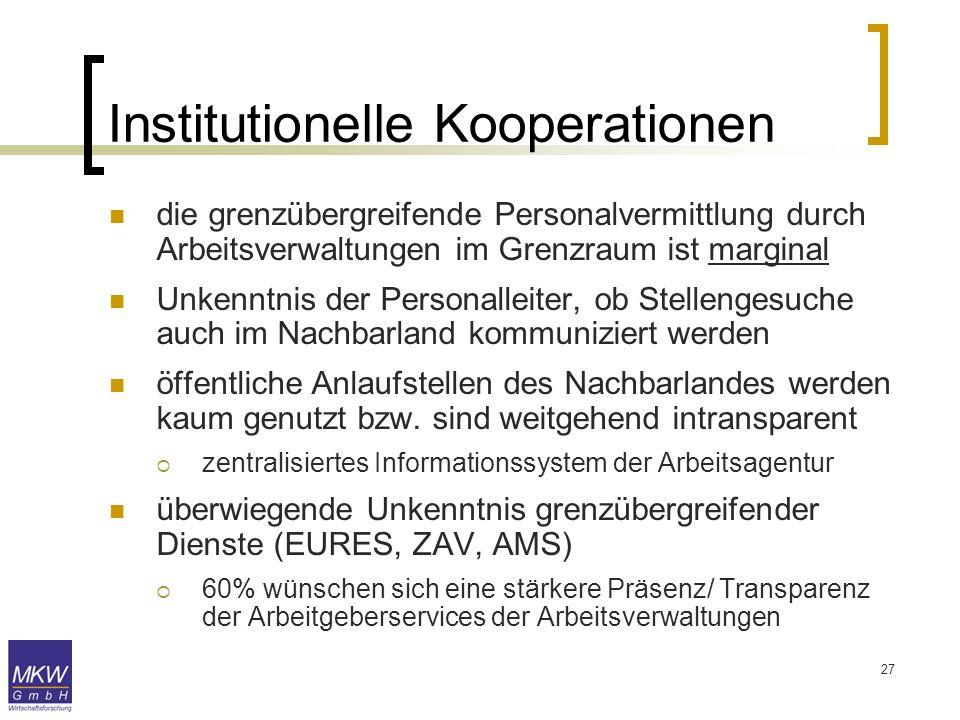 27 die grenzübergreifende Personalvermittlung durch Arbeitsverwaltungen im Grenzraum ist marginal Unkenntnis der Personalleiter, ob Stellengesuche auc