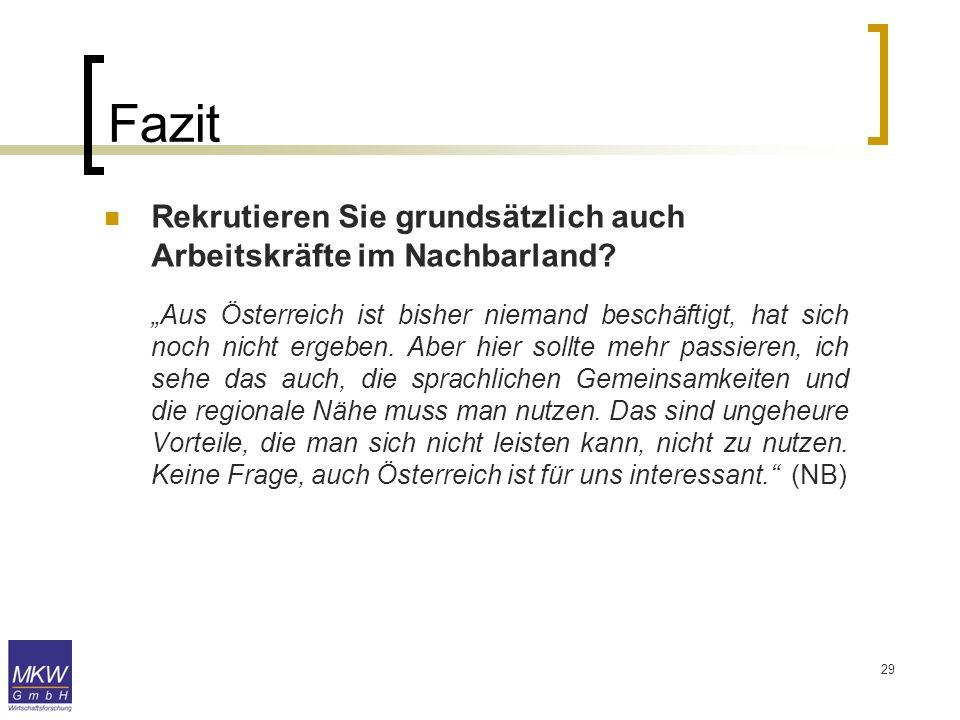 29 Fazit Rekrutieren Sie grundsätzlich auch Arbeitskräfte im Nachbarland? Aus Österreich ist bisher niemand beschäftigt, hat sich noch nicht ergeben.