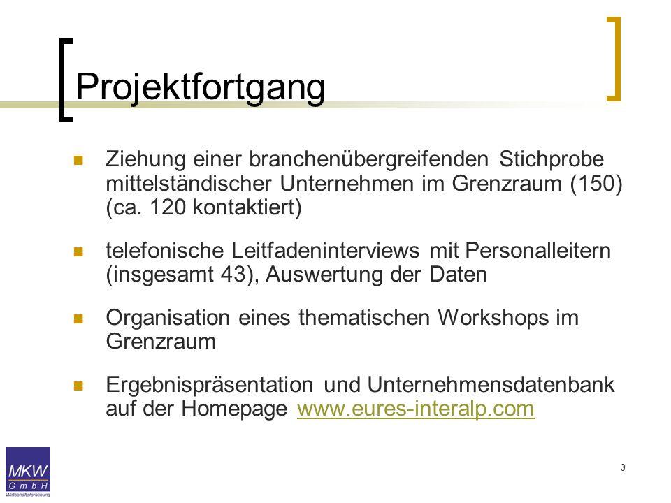 3 Projektfortgang Ziehung einer branchenübergreifenden Stichprobe mittelständischer Unternehmen im Grenzraum (150) (ca. 120 kontaktiert) telefonische