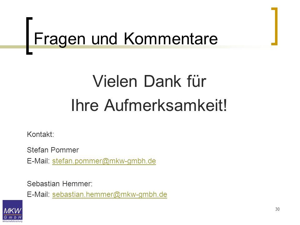 30 Fragen und Kommentare Vielen Dank für Ihre Aufmerksamkeit! Kontakt: Stefan Pommer E-Mail: stefan.pommer@mkw-gmbh.destefan.pommer@mkw-gmbh.de Sebast