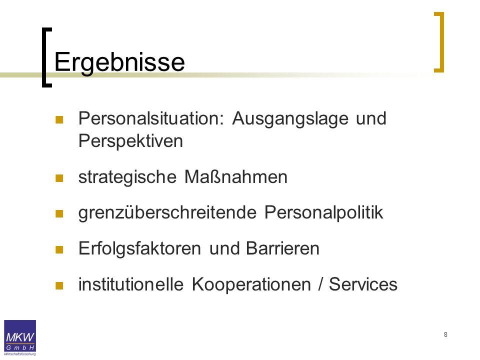 8 Ergebnisse Personalsituation: Ausgangslage und Perspektiven strategische Maßnahmen grenzüberschreitende Personalpolitik Erfolgsfaktoren und Barriere